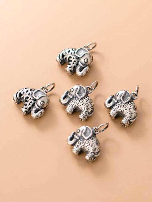 FAN 925 Sterling Silver Elephant Charm Height : 13.5 mm , Width: 14 mm 1
