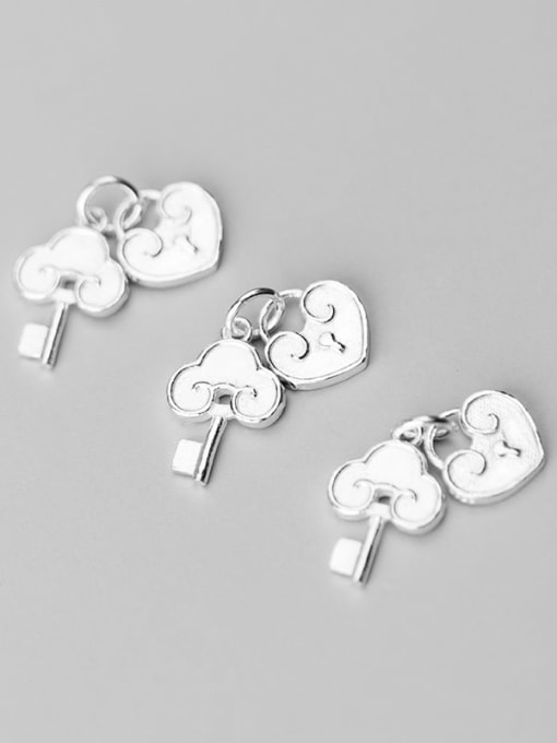 FAN 925 Sterling Silver Key Lock Charm Height : 16.5 mm , Width: 12 mm 1