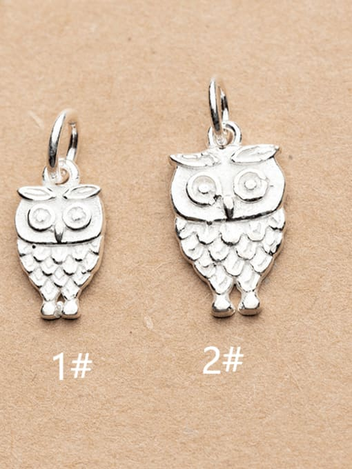 FAN 925 Sterling Silver Owl Charm Height : 16 mm , Width: 9 mm
