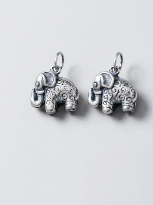 FAN 925 Sterling Silver Elephant Charm Height : 13.5 mm , Width: 14 mm