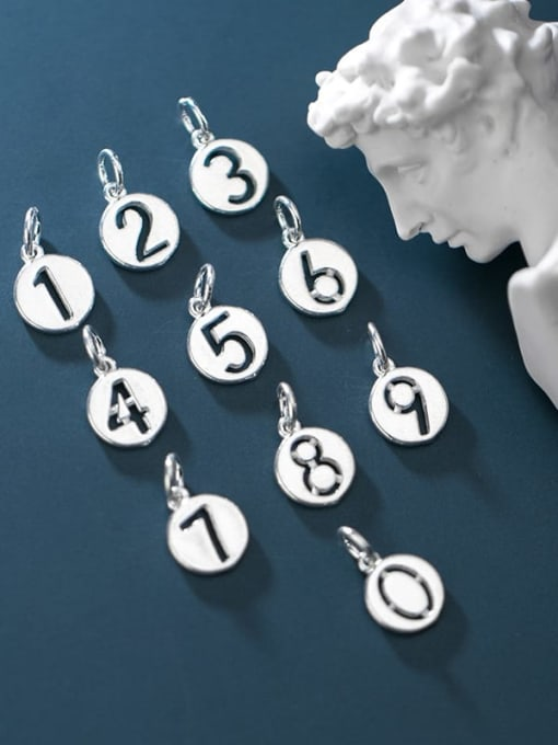FAN 925 Sterling Silver Number Round Charm Diameter : 1.3 mm 1