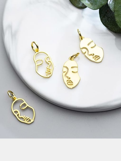 FAN 925 Sterling Silver 18k Gold Plated Face Charm 2