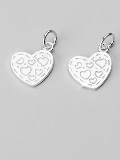 FAN 925 Sterling Silver Heart Charm Height : 14 mm , Width: 12 mm