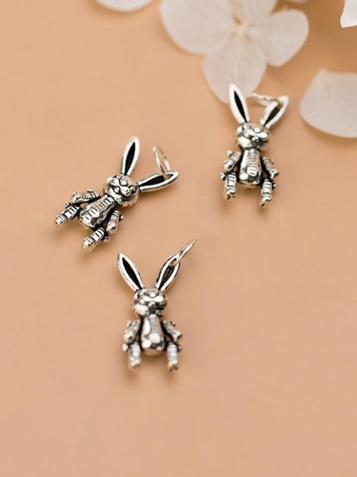FAN 925 Sterling Silver Rabbit Charm Height : 17 mm , Width: 8 mm 1