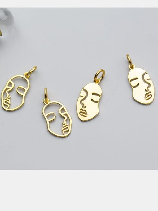 FAN 925 Sterling Silver 18k Gold Plated Face Charm 1