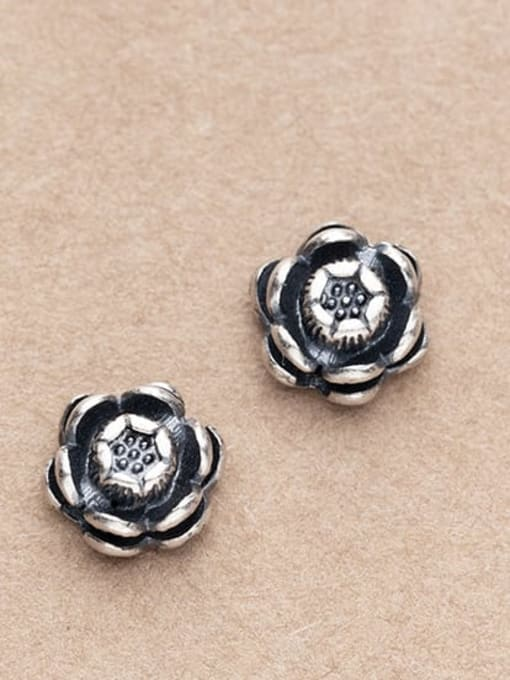 FAN 925 Sterling Silver Flower Charm Height : 8 mm , Width: 8 mm 1