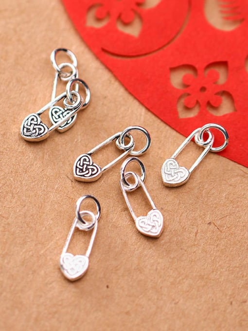 FAN 925 Sterling Silver Heart Charm Height : 14 mm , Width: 6 mm 2