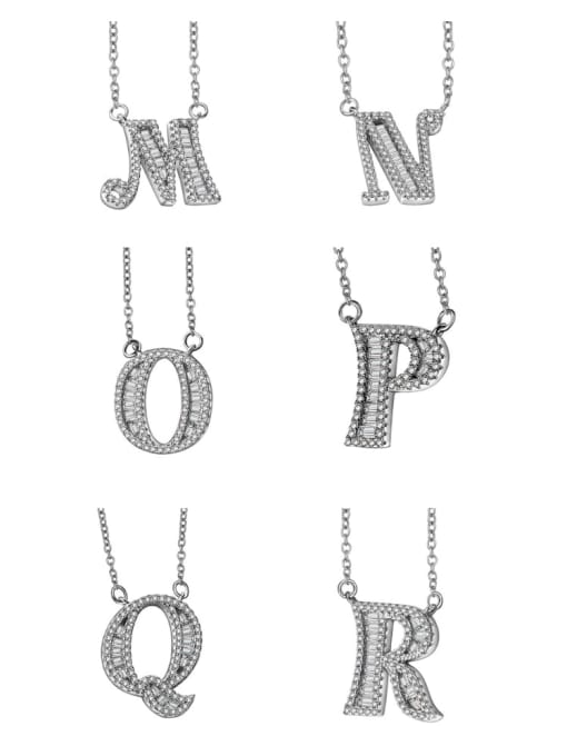 LM 925 sterling silver cubic zirconia white letter dainty initials necklace 3