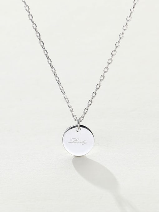 LM custom 925 sterling silver round minimalist initials necklace