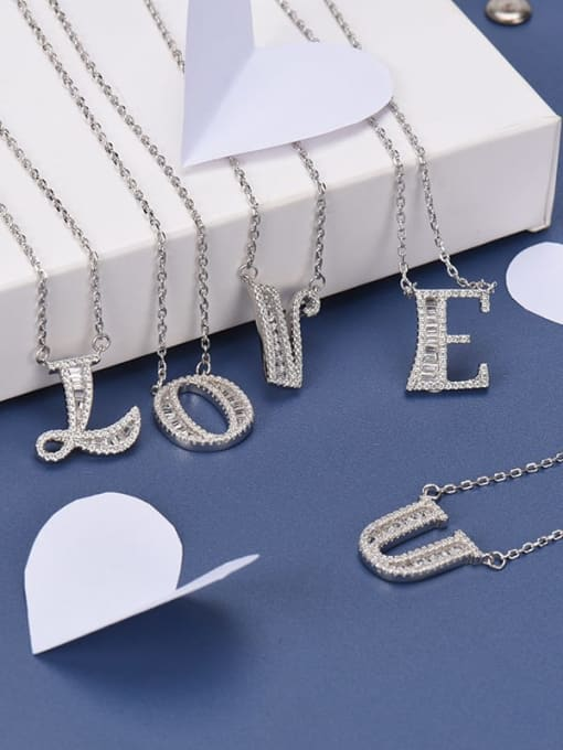 LM 925 sterling silver cubic zirconia white letter dainty initials necklace 1