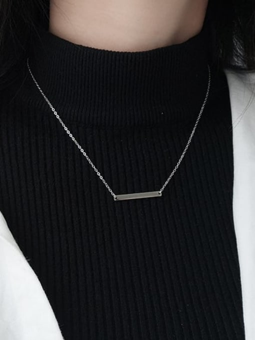 LM custom 925 sterling silver letter minimalist initials bar necklace 1