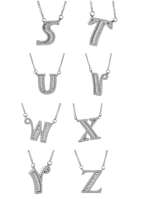 LM 925 sterling silver cubic zirconia white letter dainty initials necklace 5