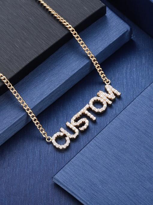 LM custom titanium rhinestone name necklace 1
