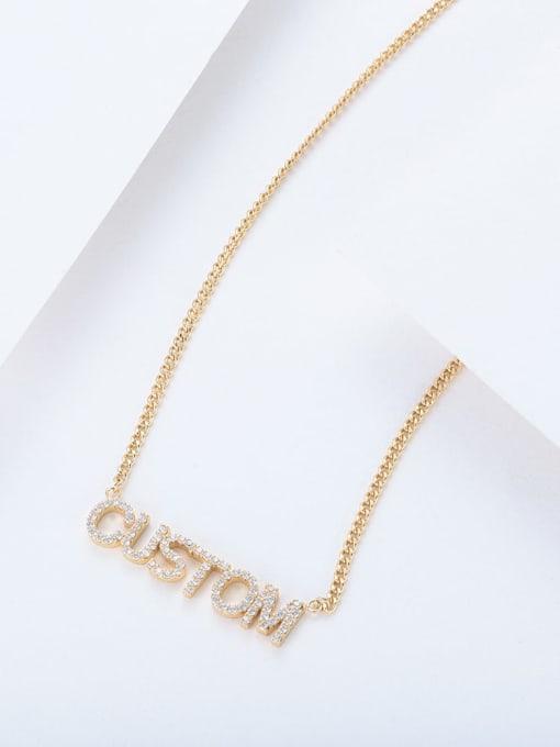 LM custom titanium rhinestone name necklace