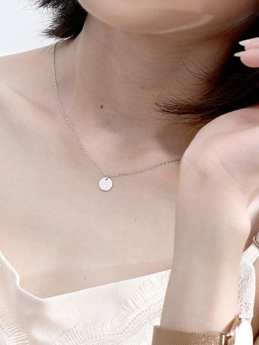 LM custom 925 sterling silver round minimalist initials necklace 1
