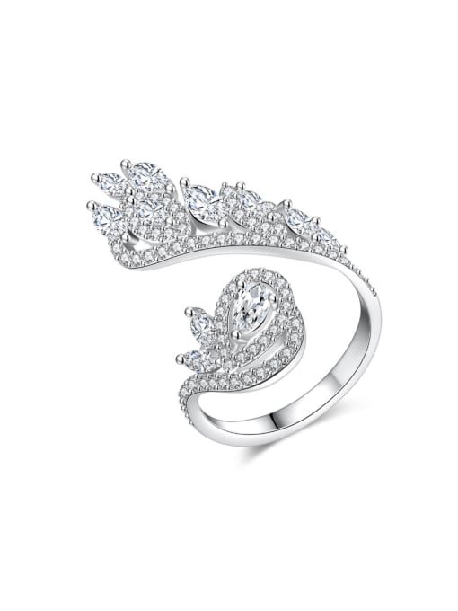BLING SU Copper With Platinum Plated Exaggerated Flower Cubic Zirconia Statement Rings