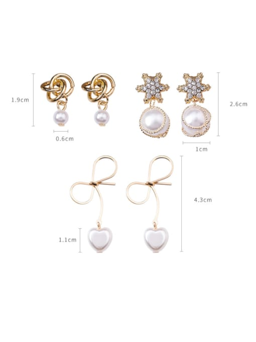 Girlhood Alloy With Gold Plated Trendy Bowknot Imitation Pearl Drop Earrings 1