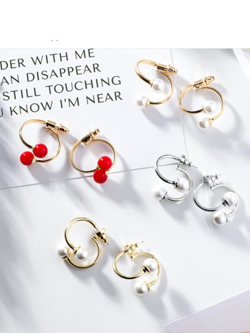 Girlhood Alloy With Gold Plated Fashion Geometric  Imitation Pearl Stud Earrings 1