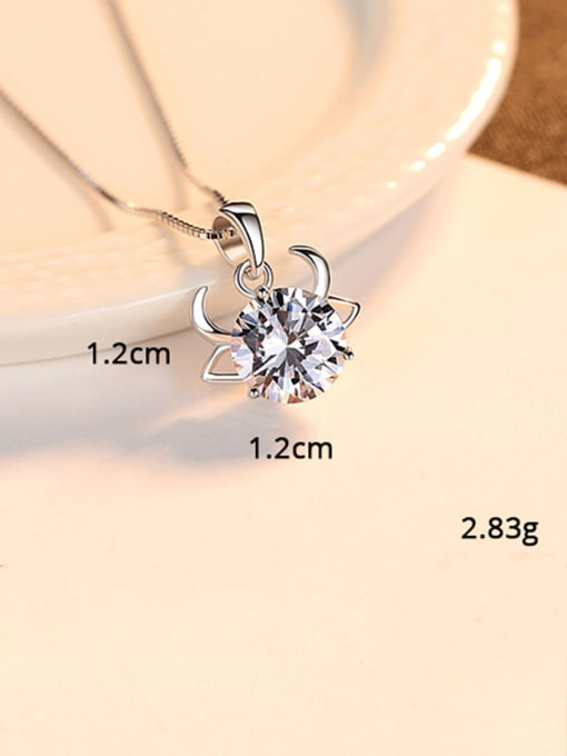 Cancer 925 Sterling Silver With  Cubic Zirconia Cute 12 constellations Necklaces