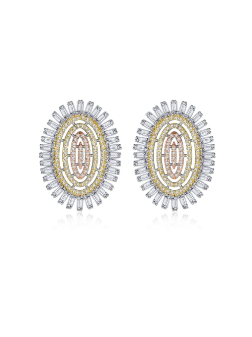 BLING SU Copper With Platinum Plated Luxury Oval Cubic Zirconia Cluster Earrings
