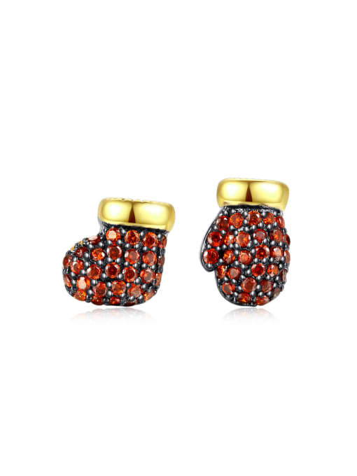 BLING SU Copper With 18k Gold Plated Fashion Clothes Stud Earrings 0