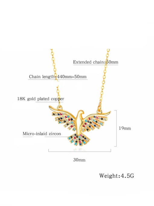 Open Sky Copper With 18k Gold Plated Fashion A great hawk spreads its wings Necklaces 3