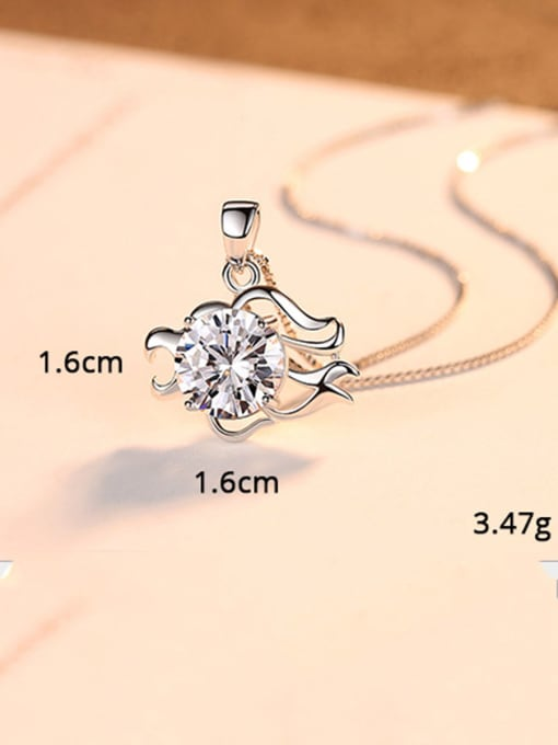 Leo 925 Sterling Silver With  Cubic Zirconia Cute 12 constellations Necklaces