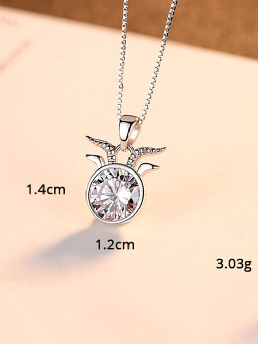 Aries 925 Sterling Silver With  Cubic Zirconia Cute 12 constellations Necklaces