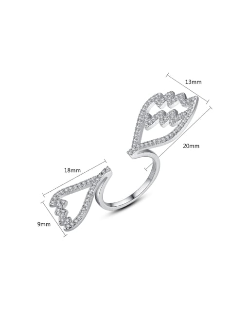 BLING SU Copper With Platinum Plated  Cubic Zirconia Fashion Statement Rings 3