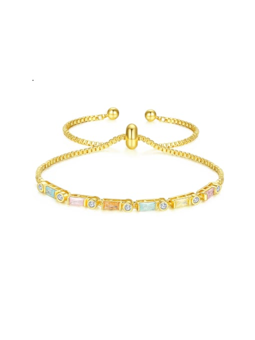BLING SU Copper With 18k Gold Plated Fashion Geometric Cubic Zirconia Bracelets