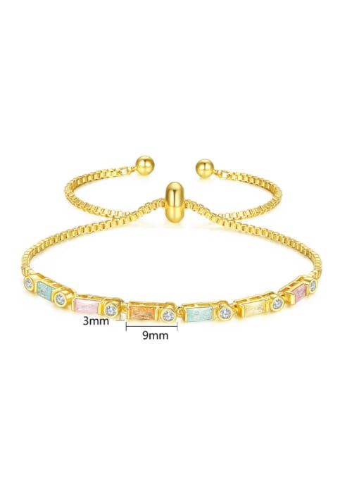 BLING SU Copper With 18k Gold Plated Fashion Geometric Cubic Zirconia Bracelets 4