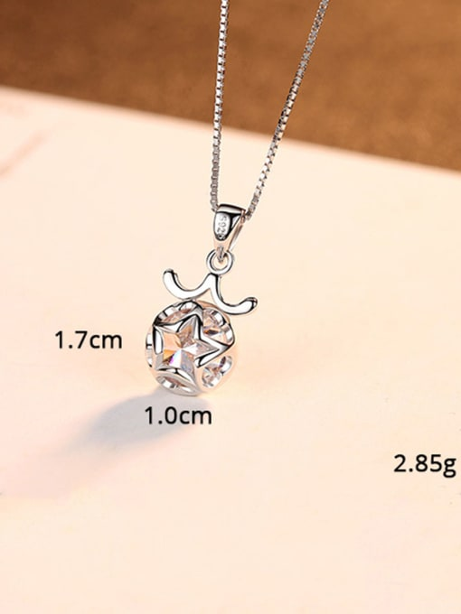 Libra 925 Sterling Silver With  Cubic Zirconia Cute 12 constellations Necklaces