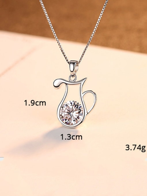 Aquarius 925 Sterling Silver With  Cubic Zirconia Cute 12 constellations Necklaces