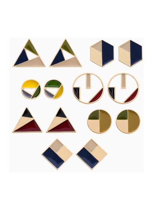 Girlhood Alloy With Gold Plated Trendy Geometric Stud Earrings 0