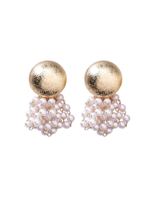 Girlhood Alloy With Gold Plated Fashion Imitation pearls Charm Stud Earrings 0