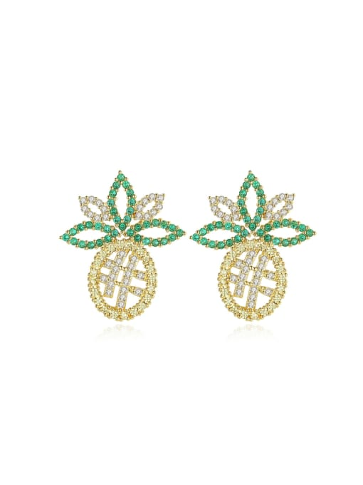BLING SU Copper With 18k Gold Plated Trendy Friut  Cubic Zirconia Stud Earrings 0