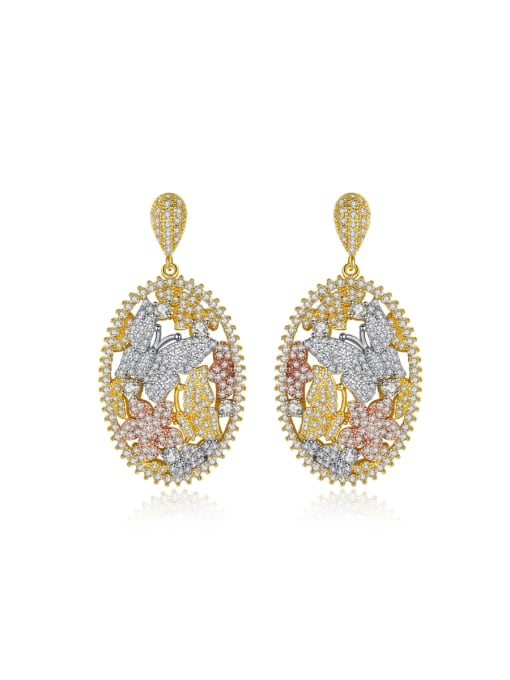 BLING SU Copper With 18k Gold Plated Luxury Butterfly  Cubic Zirconia Stud Earrings