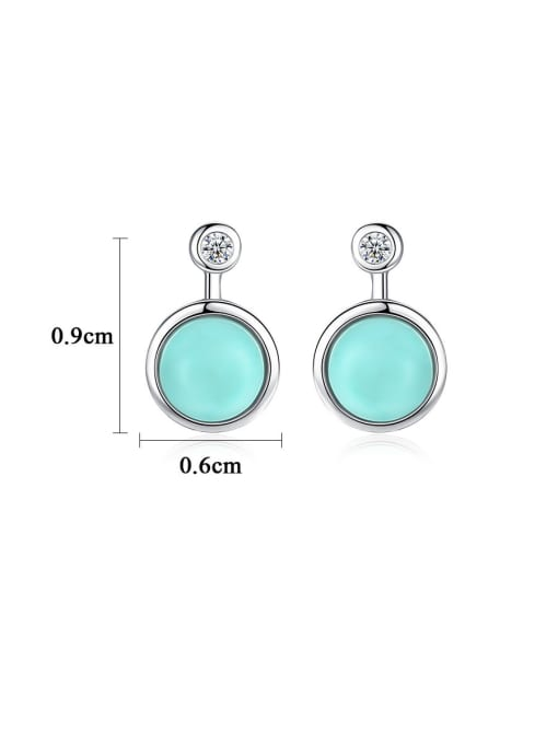 CCUI 925 Sterling Silver With Turquoise Vintage Sliver Round Stud Earrings 3