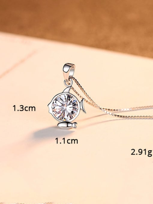 Pisces 925 Sterling Silver With  Cubic Zirconia Cute 12 constellations Necklaces