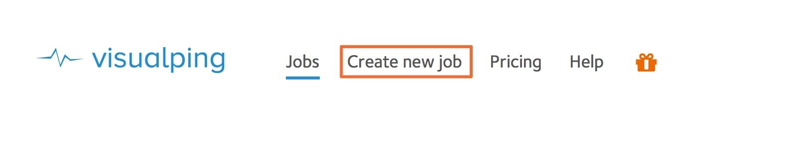 Visual Ping Create New Job