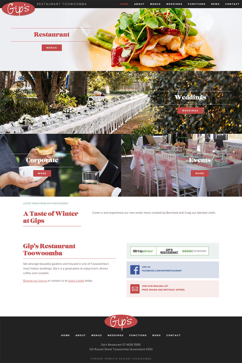 Gip's Restaurant Website 1