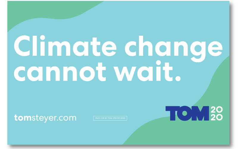 Climate Change Cannot Wait rally sign