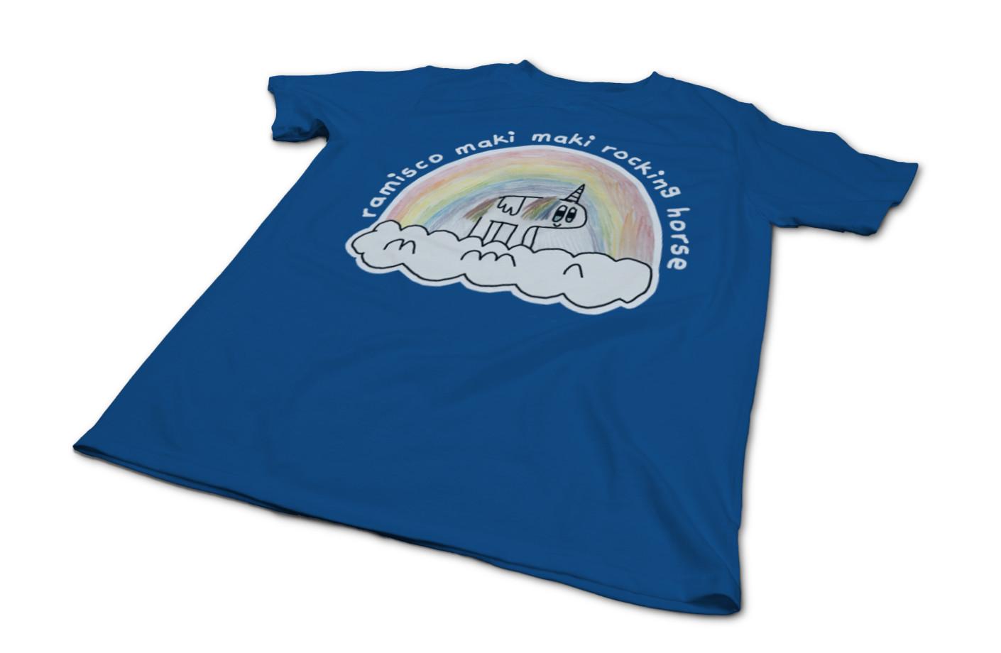 The ramisco maki maki rocking horse rainbow horse   t shirt  by noah austin mccartney  1552136060