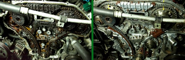 Timing chain and gears: Before on left side, covered in sludge and after cleaning and replacement on right