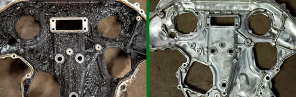 Timing chain cover: as removed from engine and after intensive cleaning process