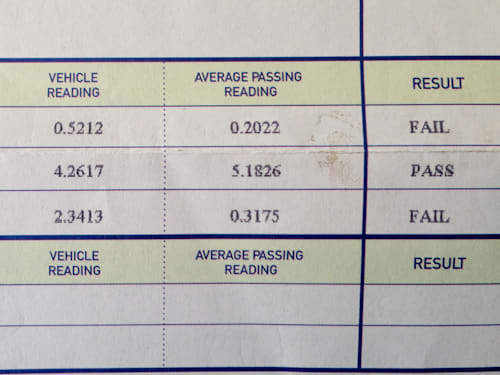 Failed AirCare test sheet. Note the numbers on the left and compare them to the passed test sheet