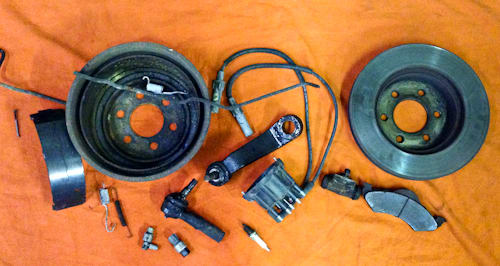 Just a sample of the myriad of part replaced on this service: brake shoes, drums, wheel cylinders, metal brake lines, brake pads and rotors. Pitman arm and tie rod ends. Spark plugs, distributor cap and ignition wires. A/C cut out switch and brake hardware