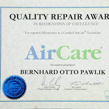 AirCare Award certificate