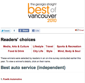Best of Vancouver Winner - Pawlik Automotive