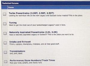 Screen capture of a Subaru Forum